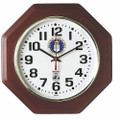 "SelfSet Wall Clocks - 12"" Diameter, Octagon, with Custom Logo, Mahogany, NSN 6645-01-557-4607"