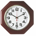 "SelfSet Wall Clocks - 12"" Diameter, Octagon, Mahogany, NSN 6645-01-557-4608"