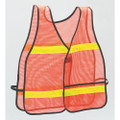 High Visibility Vest - One Size Fits All, Orange with Reflective Strips, NSN 8415-01-394-0216