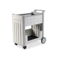 Molded Polypropylene Mail Cart, 125-Folder Cap, 21 x 38-1/2 x 42, Platinum