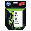 C9509FN (HP 21; HP 22) Ink, 190 Page-Yield, 2/Pack, Black; Tri-Color