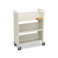 Single-Sided Slant Shelf Steel Book Cart, Three Shelves, 31w x 13d x 42h, Putty
