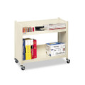 Single-Side Slant Shelf Steel Book Cart, Two Shelves, 28w x 13d x 24-1/2h