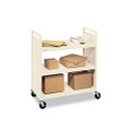 Steel Flat Shelf Cart With Four Casters, Three Shelves, 37w x 18d x 42h, Putty