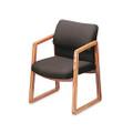 2400 Series Guest Arm Chair, Medium Oak Finish, Gray Fabric