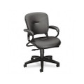 4700 Series Mobius Task Seating Mid-Back Swivel Chair, Black, Leather