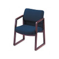 2400 Series Guest Arm Chair, Mahogany Finish, Blue Fabric