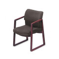 2400 Series Guest Arm Chair, Mahogany Finish, Gray Fabric
