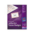 Self-Adhesive Laser/Ink Jet Name Badge Labels, 2-1/3x3-3/8, Red Border, 400/box