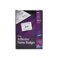 Self-Adhesive Laser/Ink Jet Name Badge Labels, 2-1/3x3-3/8, Plain White, 400BX