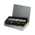 Locking heavy-duty steel extra-wide cash box, gray