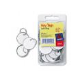 Metal Rim Key Tags, Card Stock/Metal, White, 50 per Pack