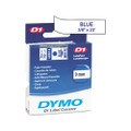 D1 Tape Cartridge f/Electronic Label Makers, 3/8in x 23ft, Blue on White