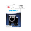 D1 Permanent Polyester Label Maker Tape, 1/2in x 18ft, Black on White