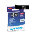 D1 Tape Cartridge for Electronic Label Makers, 1/2in x 23ft, White on Black
