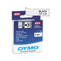 D1 Tape Cartridge for Electronic Label Makers, 1/4in x 23ft, Black on Clear