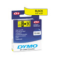 D1 Tape Cartridge for Electronic Label Makers, 1/2w, Black on Yellow
