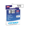 D1 Tape Cartridge for Electronic Label Makers, 1/4in x 23ft, Black on White