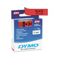 D1 Tape Cartridge for Electronic Label Makers, 1/2w, Black on Red