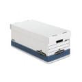 FastFold Stor/File Lid Box, Letter, 12 x 10 x 24, White/Blue, 4/Ctn