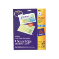 Clean Edge Ink Jet Business Cards, 2 x 3-1/2, White, 200/pk