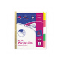Write-On Index Dividers, 5 Erasable Laminated Multicolor Tabs, CLR, 5/St