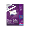 White Name Badge Inserts For Laser Printers, 400 2-1/4 x 3-1/2 Inserts/box