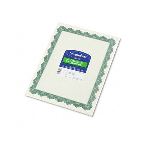 Parchment Paper Certificates, 8-1/2 X 11, Optima Green