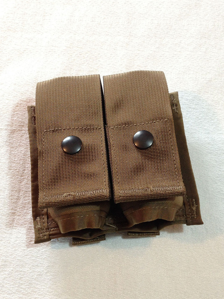 US Military 40MM DOUBLE PYROTECHNIC POUCH High Explosive Grenade Coyote NOS