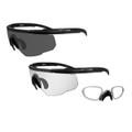 Wiley-X CHANGEABLE SABER ADVANCED, Smoke Grey - Clear/2 Matte Black Frames w/RX Insert, P/N: SABER-307RX