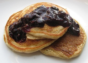 Almond Pancakes with Blueberry Sauce