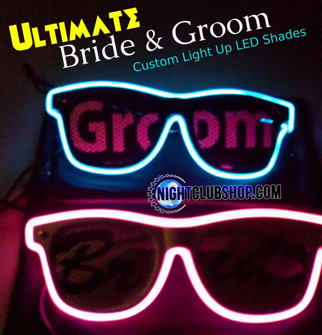 Ultimate Wedding Light Up Glow Glasses Bride And Groom Led Shades Custom Set