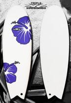 PURPLE HIBISCUS Soft Top Fish Surfboard