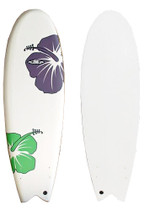 Purple and Green Hibiscus Soft Top Fish Surfboard