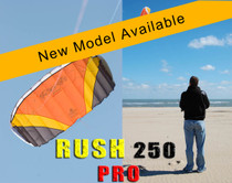 HQ Rush III 250 PRO Trainer Kite in action and close up of kite profile while flying. THIS COULD BE YOU FLYING THIS!