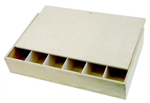 6 Bottle Box Presentation wooden with a sliding lid