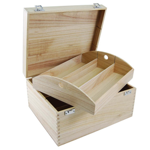 Six bottle wooden hamper tray with hinged lid
