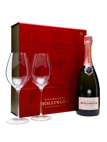 Bollinger Rose NV Glasses Gift Set Brut Champagne