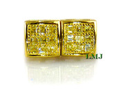 "Gold 925 Silver ""Yellow Square Princess Cut"" Micro-Pave Earrings - 8mm"