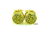 "Gold/925 Silver Lemonade ""Cluster"" Micro-Pave Lab Made Diamond Earrings - 8mm"