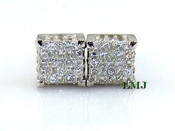 "925 Silver 360-Degree ""White Cube"" Micro-Pave Earrings - 8mm"