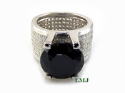 "Black and White - 925 Silver ""360 Floating Solitaire"" Lab Made Diamond Ring EXCLUSIVE! (Clear-coated)"