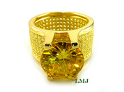 "Yellow Lemonade - Gold 925 Silver ""360 Floating Solitaire"" Lab Made Diamond Ring EXCLUSIVE! (Clear-coated)"