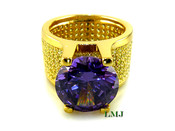 "Purple and Yellow Lemonade - Gold 925 Silver ""360 Floating Solitaire"" Lab Made Diamond Ring EXCLUSIVE! (Clear-coated)"