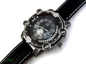 "Black and White ""Floating Stone Bezel"" Watch (Clear-Coated Bezel)"