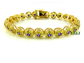 "1 Row Yellow and Purple Lab Made Diamond 8"" 3D Cluster Bracelet (Clear-Coated)"