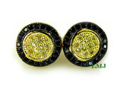 "Black and Yellow - Gold 925 Silver ""Spartan Shield"" Micro-Pave Earrings - 11mm"