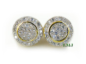 """White on Gold 925 Silver """"Spartan Shield"""" Micro-Pave Earrings - 11mm"""