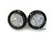 "Black and White 925 Silver ""Spartan Shield"" Micro-Pave Earrings - 11mm"
