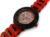 "Black and Red ""Royal"" 4 Row Bezel Watch with silicone band (Clear-Coated Bezel)"